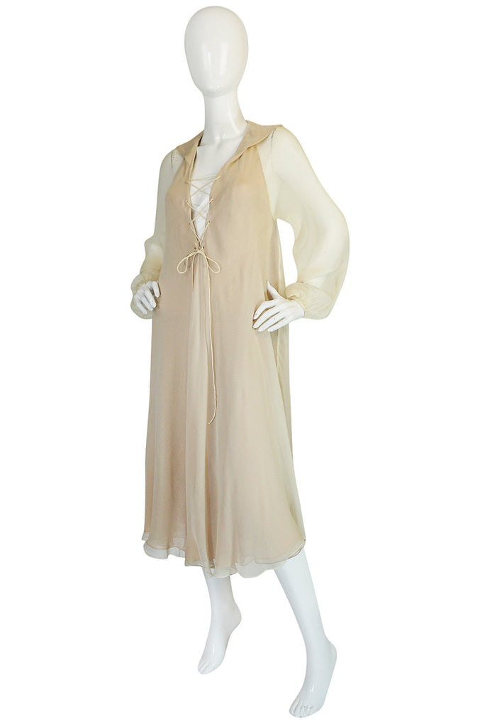 c1974 Halston Bias Cut Silk Chiffon Lace Up Dress