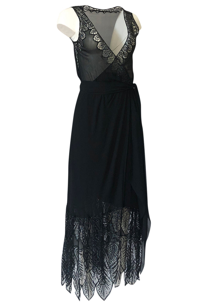 1970s Balestra Roma Alta Moda Couture Silk Chiffon & Fused Glitter Dress