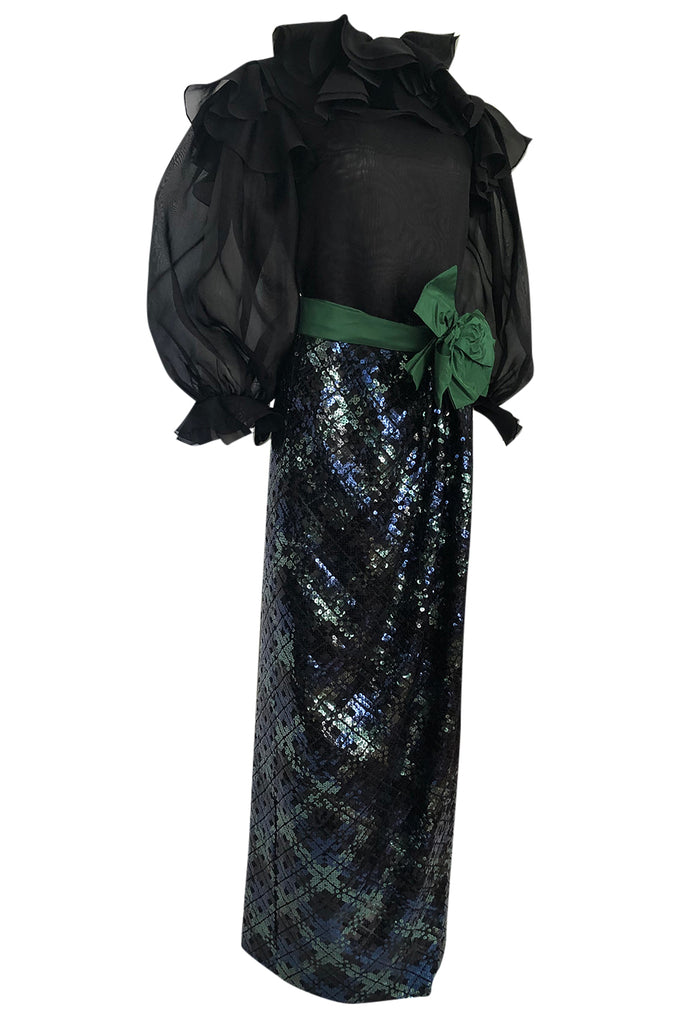 Fall 1980 Bill Blass Couture Sequin Skirt & Organza Pouf Top Dress Set