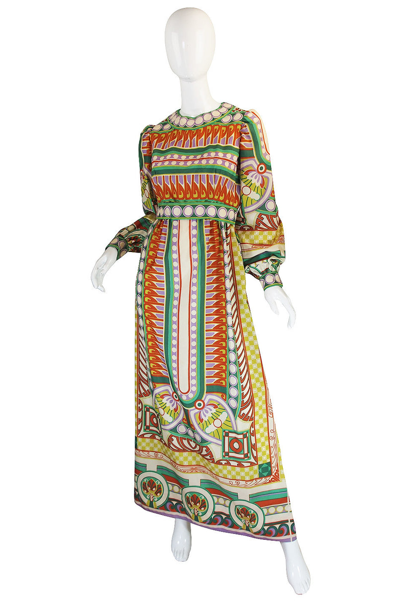1960s Tribal Print Silk Malcolm Starr Maxi Dress