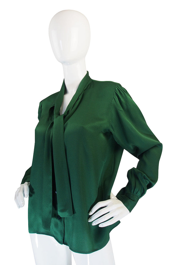 1970s Forest Green Yves Saint Laurent Silk Top