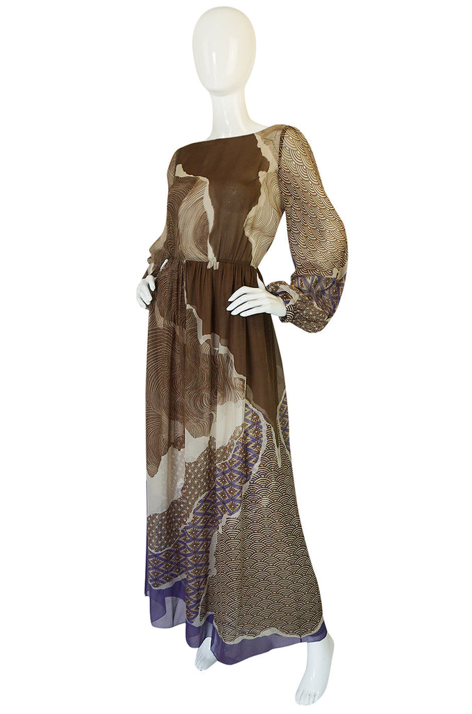 Ethereal 1970s Silk Chiffon Print Hanae Mori Dress