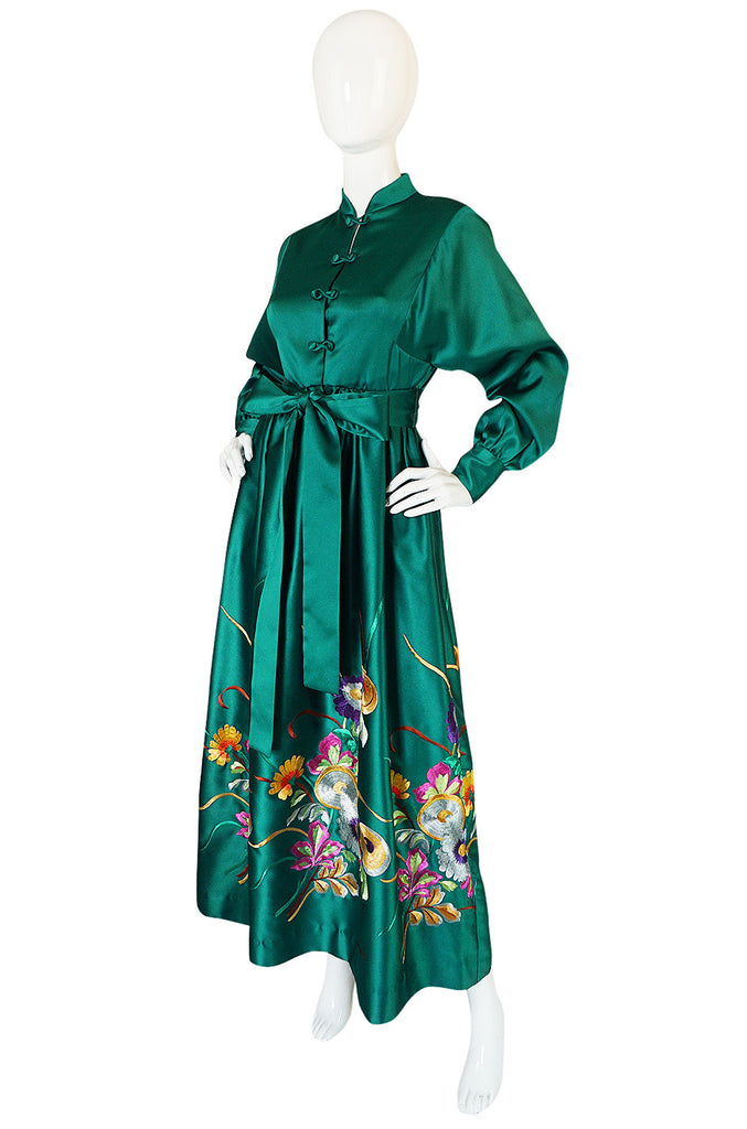 1960s Teal Traina Emerald Green Embroidered Silk Dress