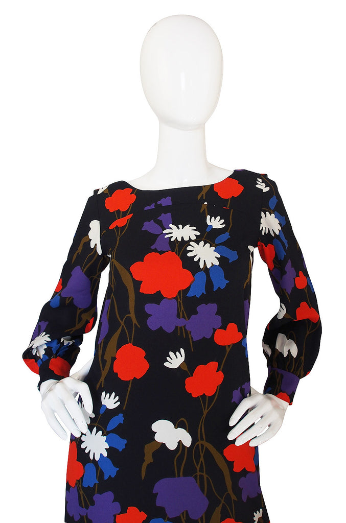 1970s Floral Yves Saint Laurent Maxi Dress