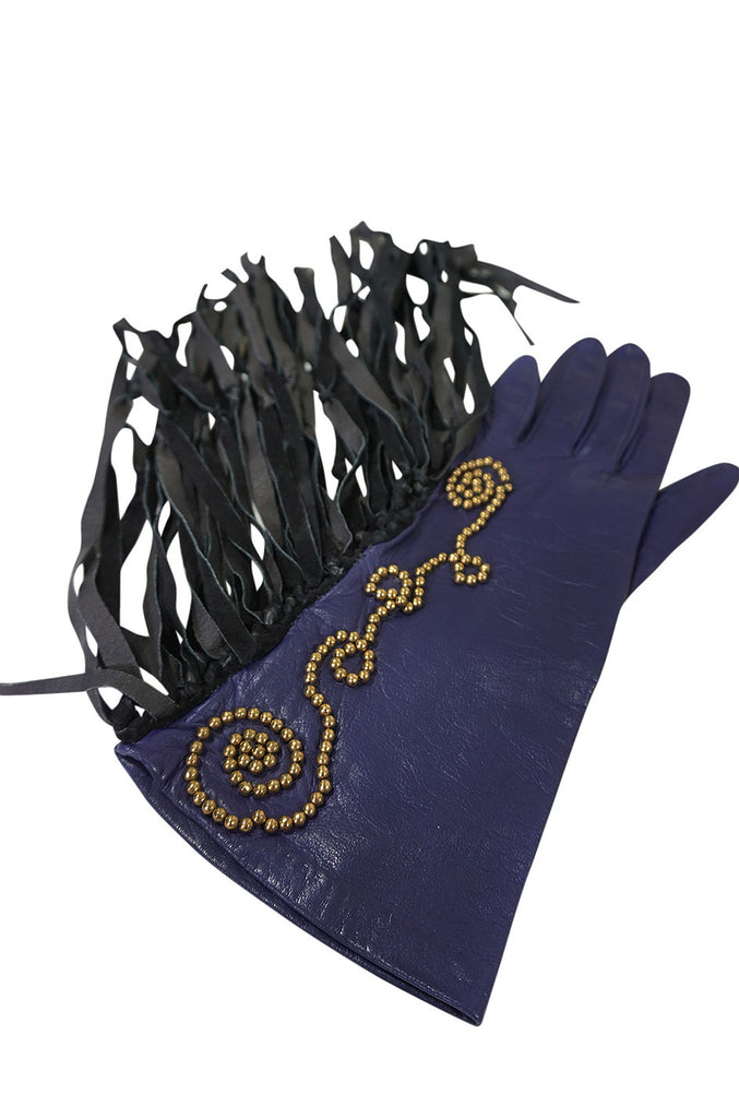 Vintage Claude Montana attr. Studded Fringe Leather Gloves