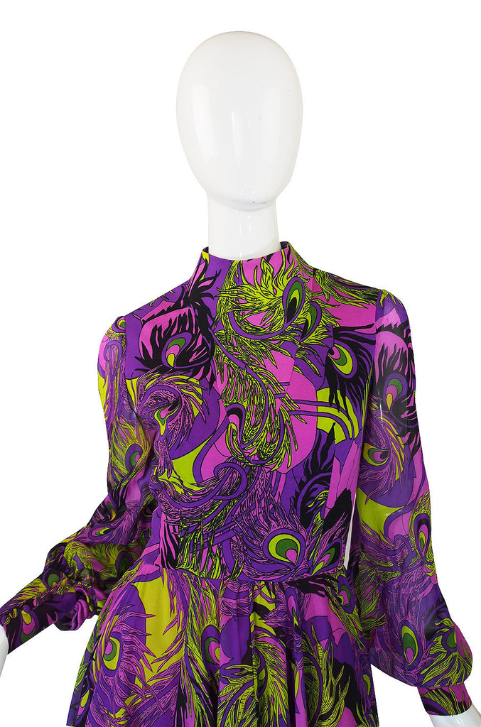 1970s Purple Silk La Mendola Day Dress