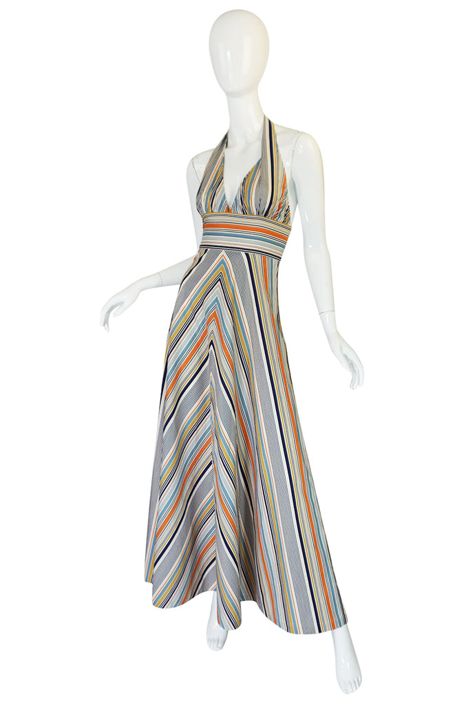 1970s Backless Cotton Striped Halter Top Maxi Sun Dress