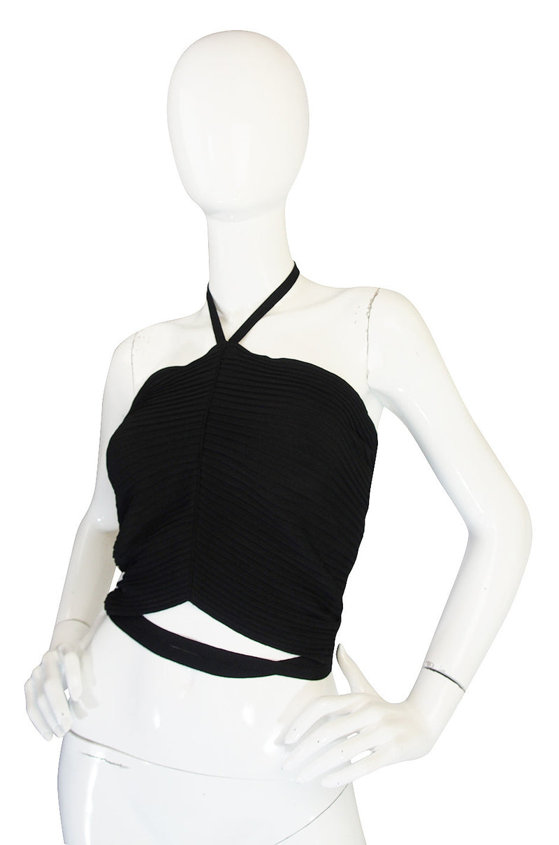 circa 1996 Tom Ford for Gucci Black Halter Knit Top