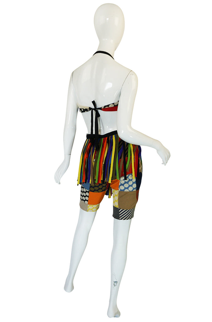 Rare S/S 1963 Patchwork Rudi Gernreich Bathing Set w Fringe Belt