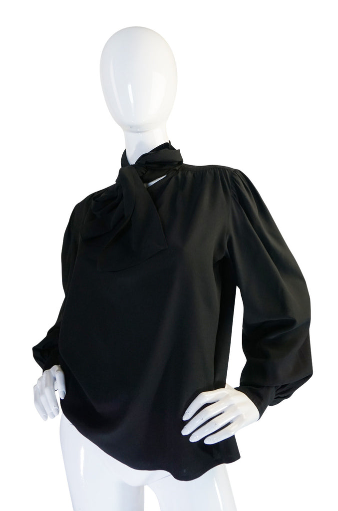 1970s Black Silk Crepe Yves Saint Laurent Tie Top