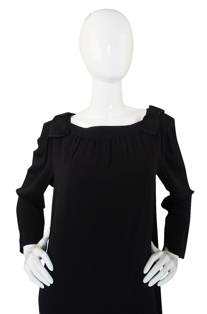 1960s Adele Simpson Chic Black Shift Dress