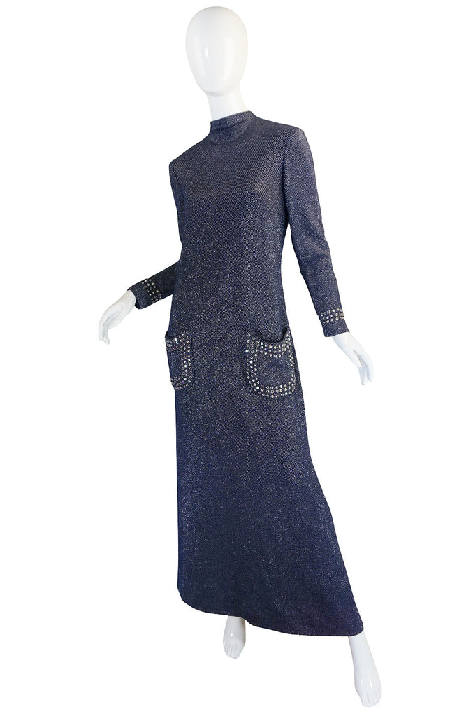 1970s Pauline Trigere Blue Lurex & Rhinestone Dress