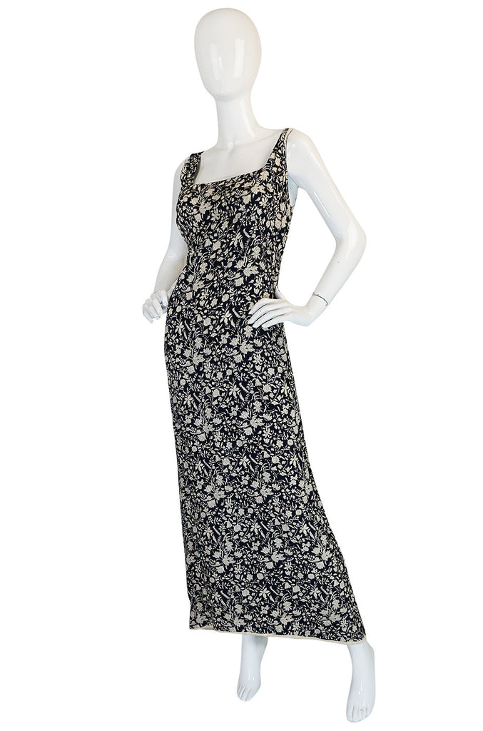 1930s Blue and Cream Bias Cut Silk Floral Print Dress
