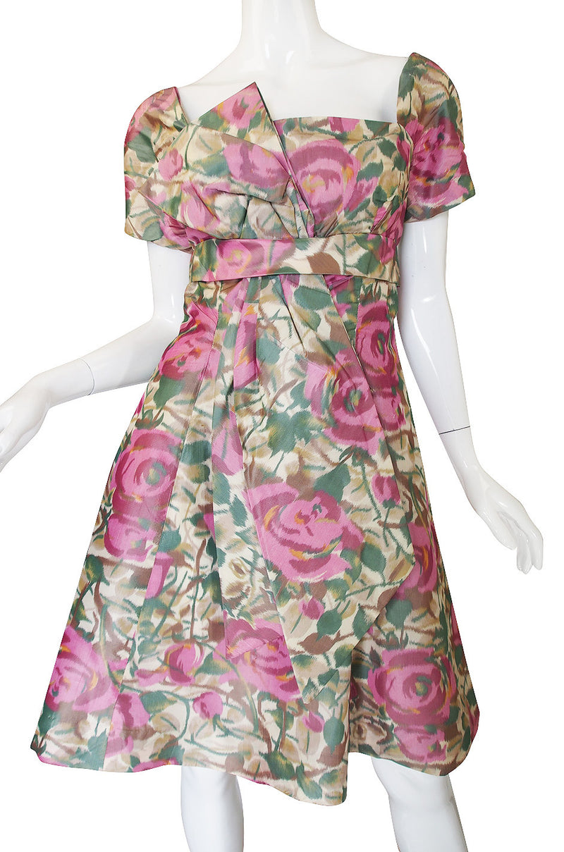 1950s Pretty Floral Silk Bow Cocktail Dress