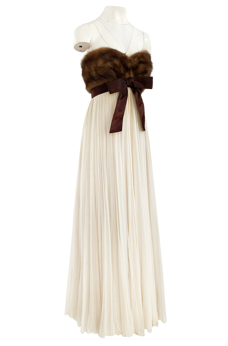 1964 Sarmi Ivory Silk Chiffon Dress w Strapless Natural Mink Bodice & Chocolate Silk Bow