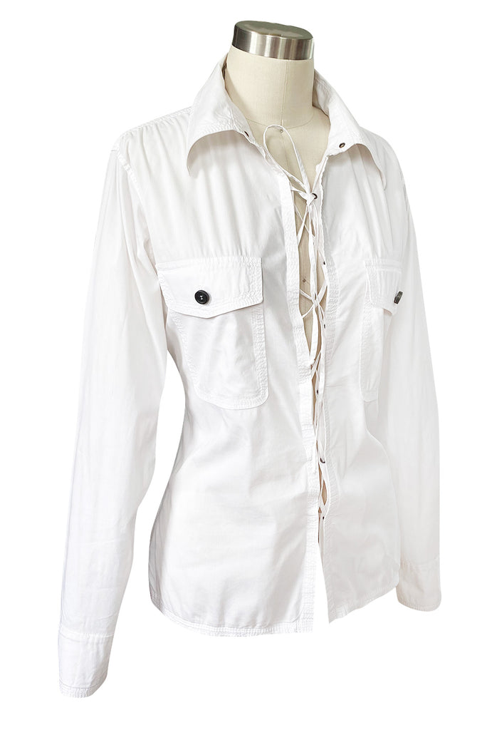 Early 2000s Tom Ford for Yves Saint Laurent Front Lace White Safari Shirt
