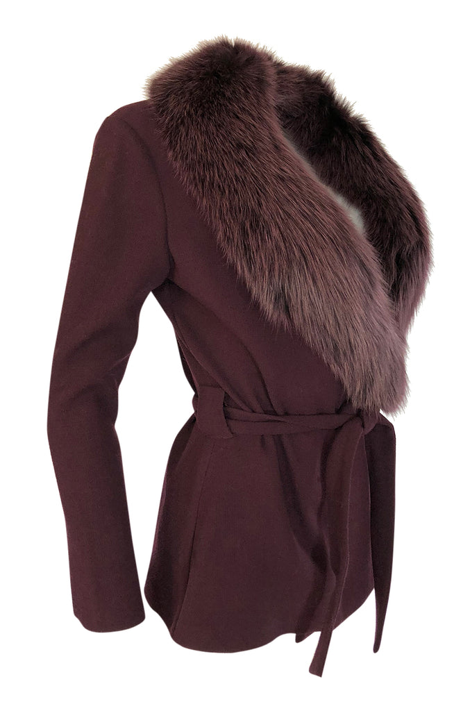 Early 2000s Heidi Weisel Deep Plum Colored Fox Fur Collar Wrap Sweater