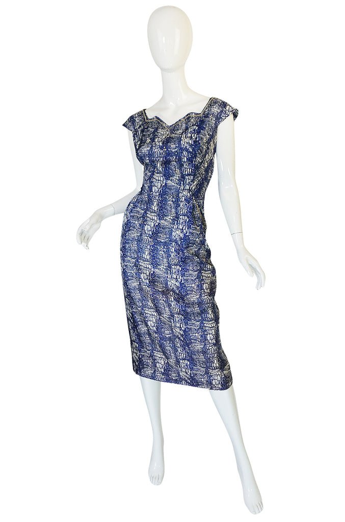 1940s Blue Crocodile/Alligator Print Silk Dress w Beaded Detail