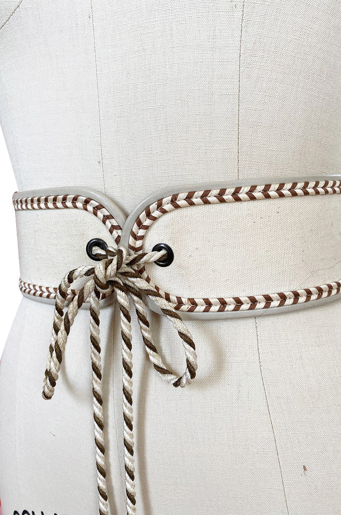 1976-77 Yves Saint Laurent Russian Collection Cream & Gold Braided Tie Belt
