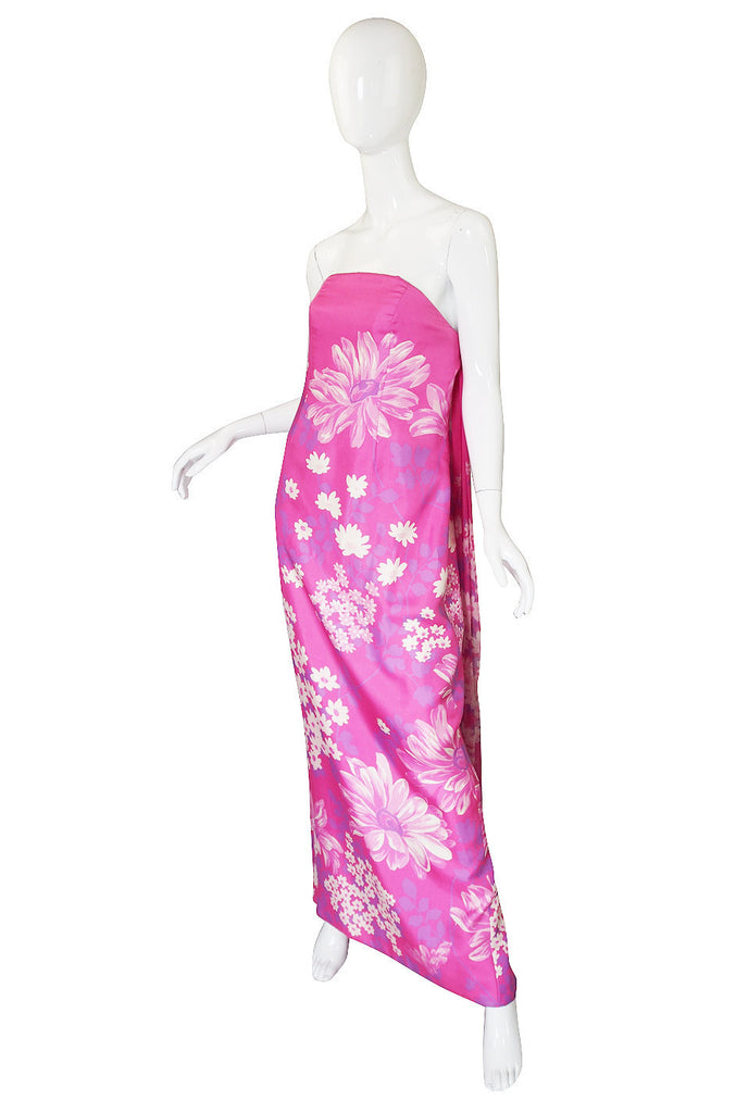 Early 1970s Pink Couture Hanae Mori Trained Gown