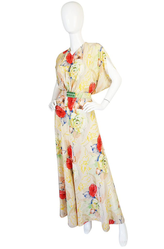 1930s Bias Cut Beautiful Floral Print Silk Flapper Gown