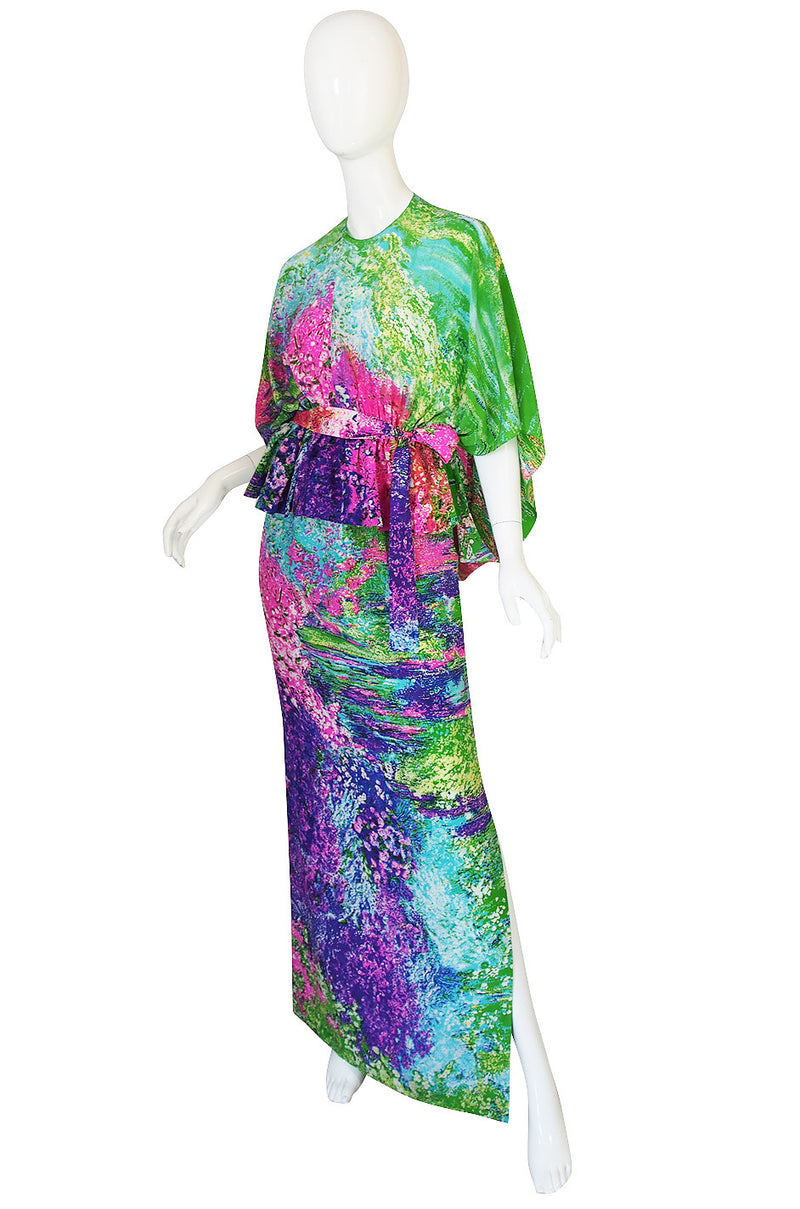 1970s Print Draped Silk Pauline Trigere Dress Set