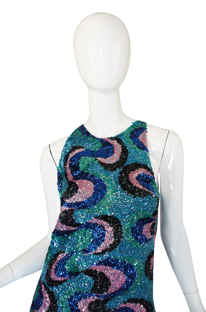 1960s Blue & Pink Hand Done Sequin Dress