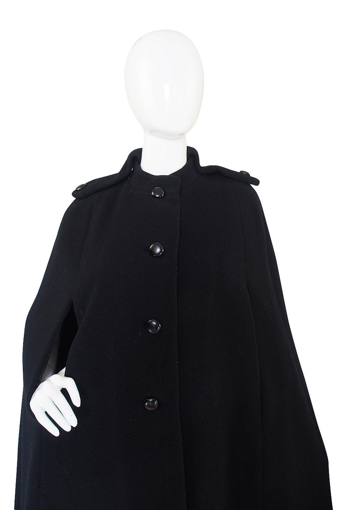 1970s Military Detailed Trigere Wool Cape