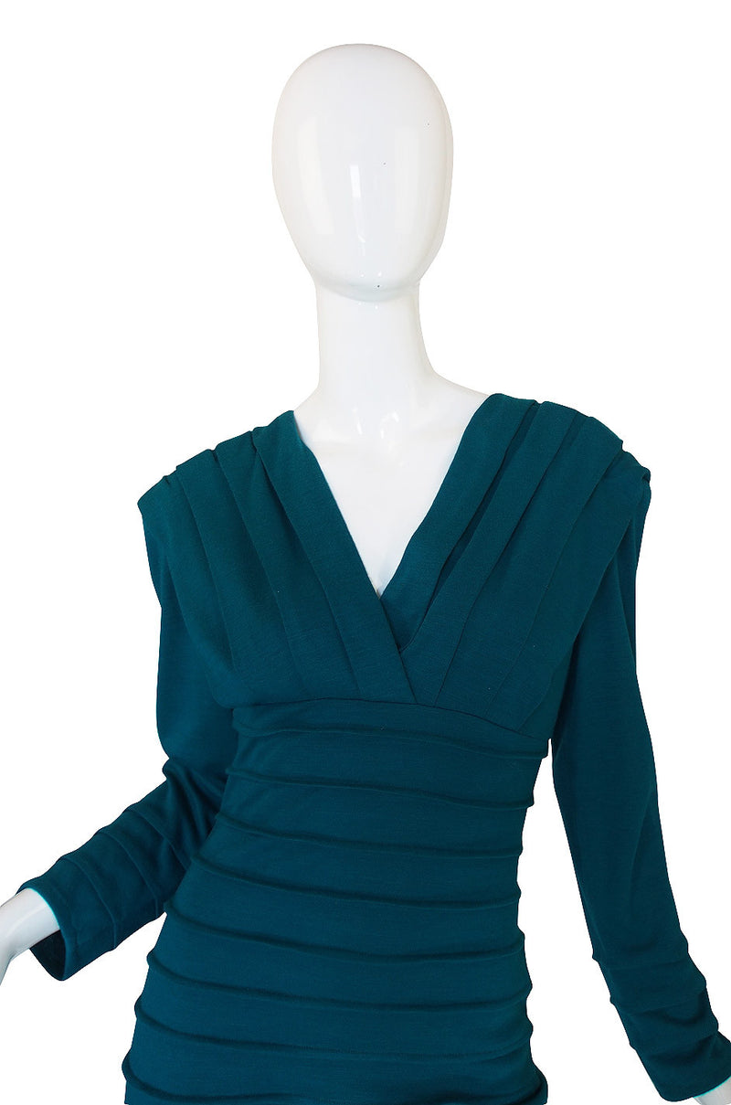 1980s Teal Zandra Rhodes Ribbed Fitted Dress