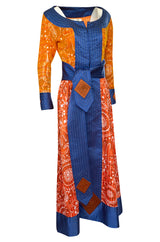 Dramatic 1970s Ronald Amey Orange Blue & Coral Print Silk Couture Dress
