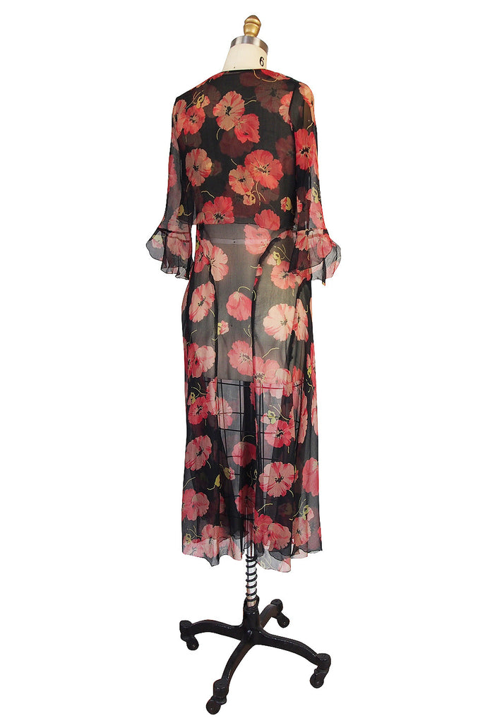 1920s Floral Print Silk Chiffon Dress & Jacket