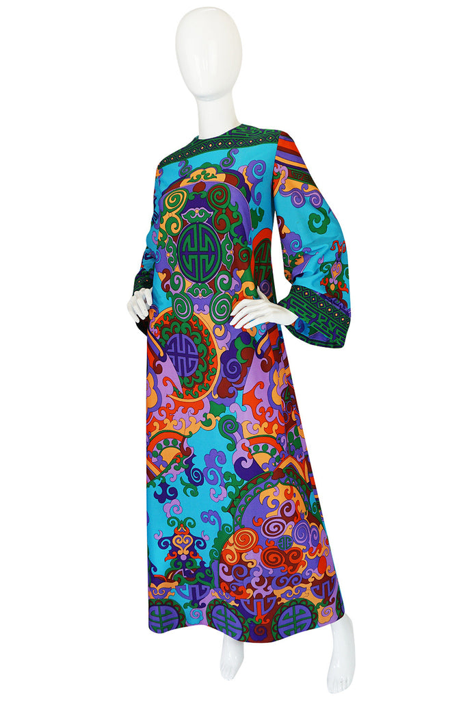 1960s Vivid Bright Printed British Colony Caftan Dress