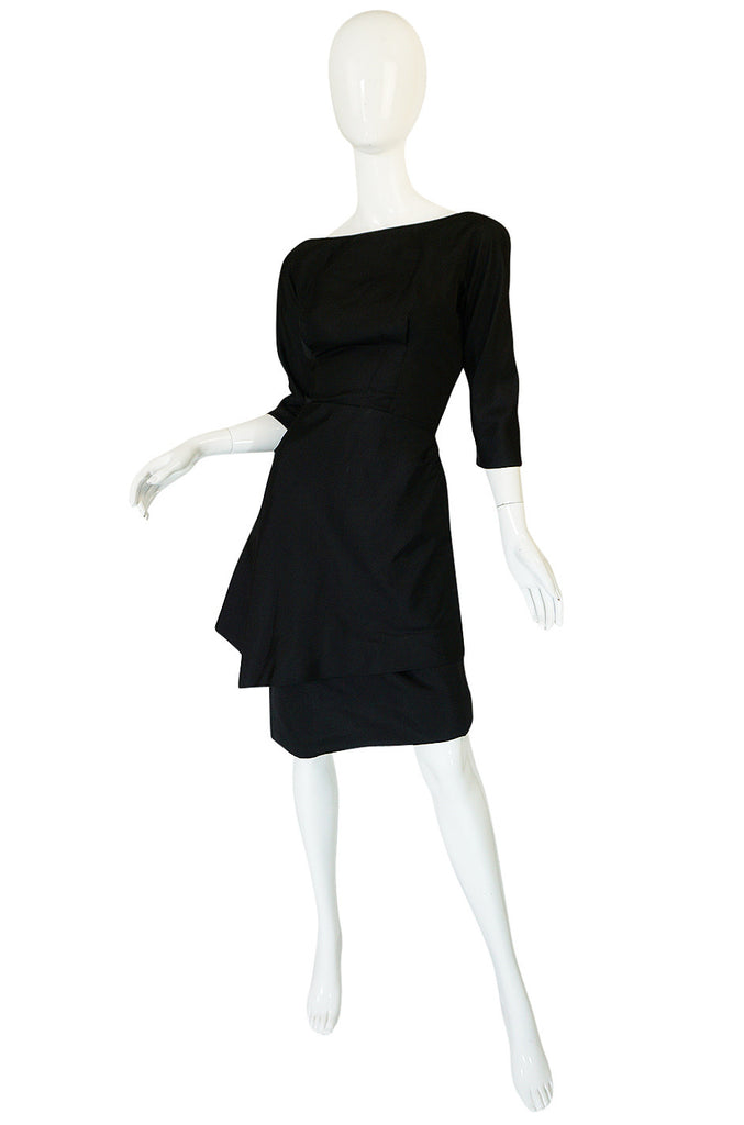 1950s Demi Couture Christian Dior Black Silk Bow Dress