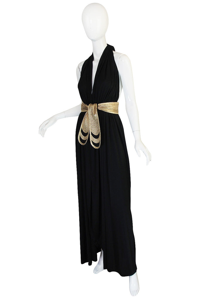 1970s Bill Tice Plunge Black & Gold Backless Dress
