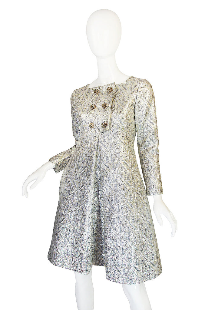 1960s Malcolm Starr Silver Metallic Brocade Dress