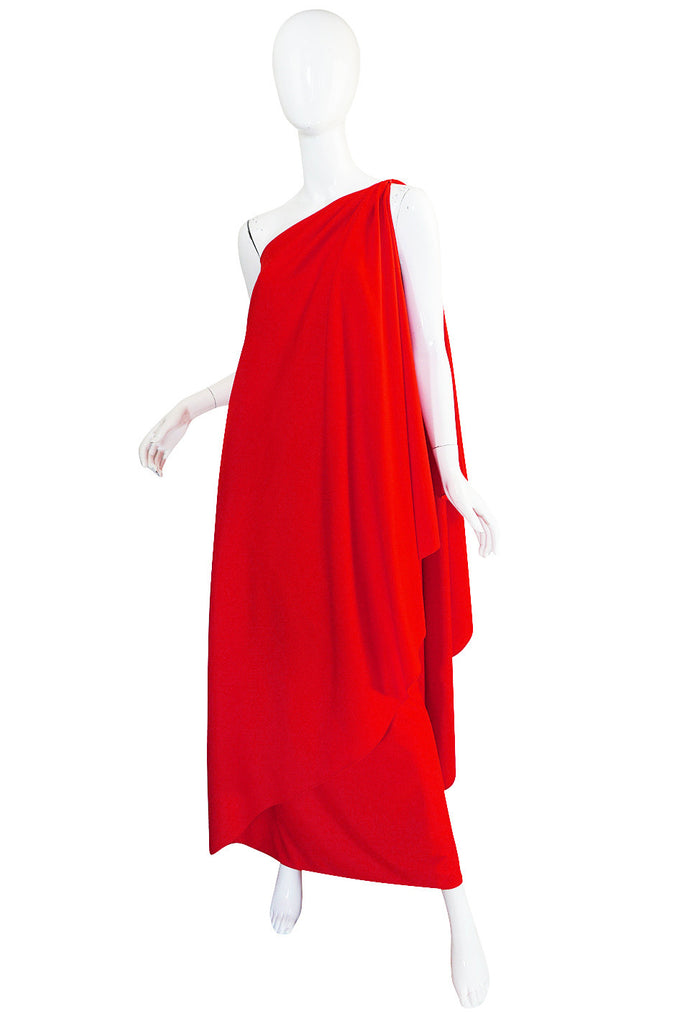 1970s One Shoulder Red Jersey Halston Dress