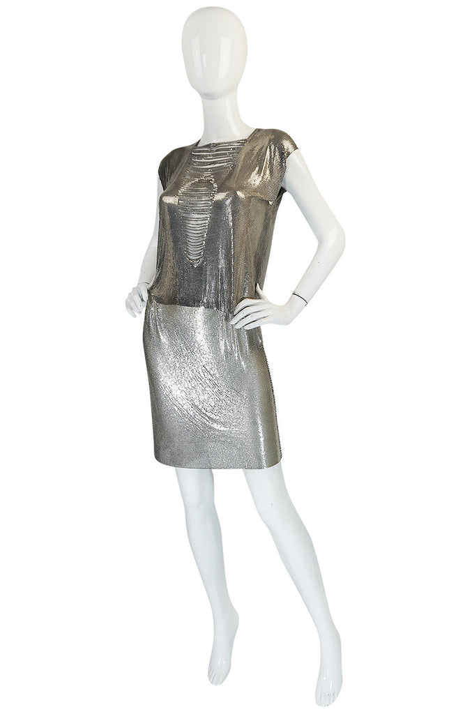 Late 1980s Paco Rabanne Silver Metal Mesh Set