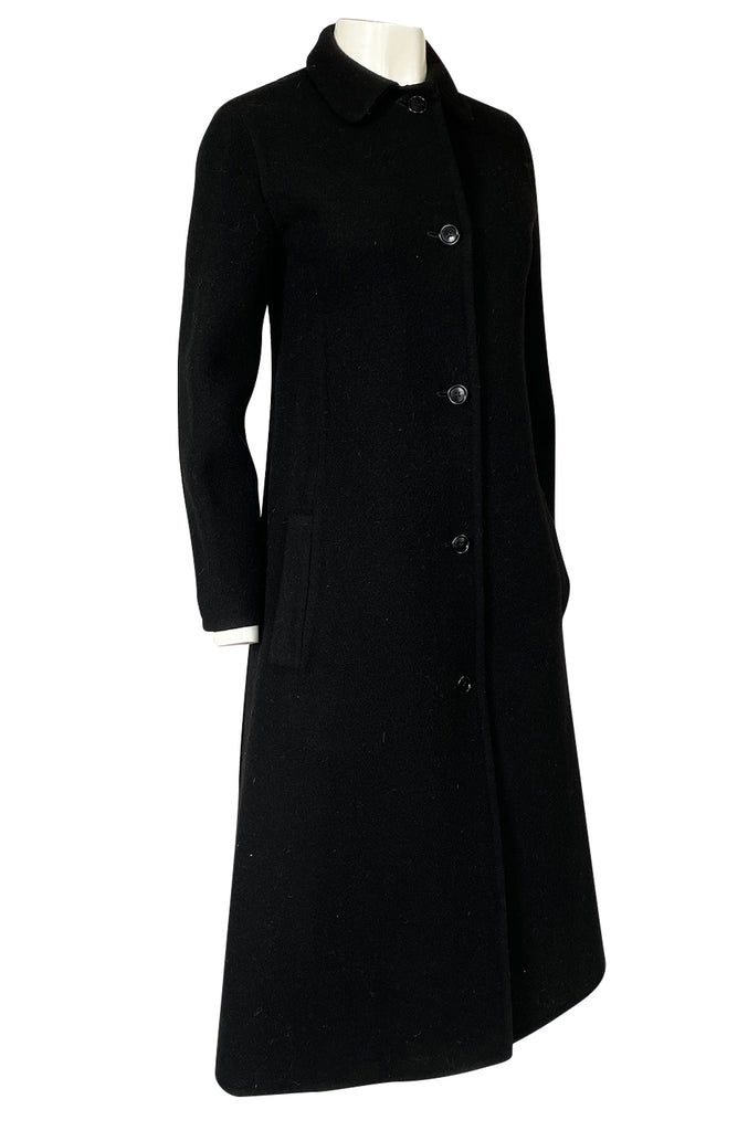 Early 1980s Halston Chic and Simple Black Wool & Cashmere Coat
