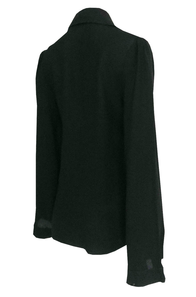 1960s Ossie Clark for Quorum Black Moss Crepe Top w Unusual Sleeves