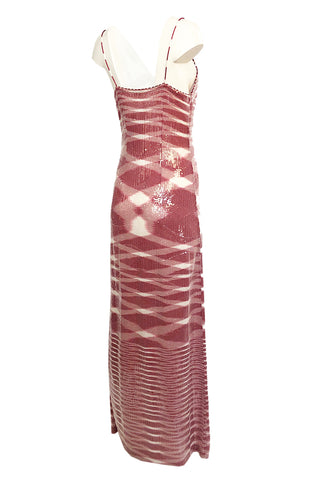 Resort 2013 Missoni Raspberry & White Fully Sequinned Knit Halter Slip Dress