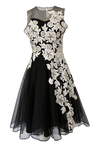 fcc09c7bd6ef 1950s I. Magnin Sequin & Bead Detailed Ivory Lace Applique Silk Dress