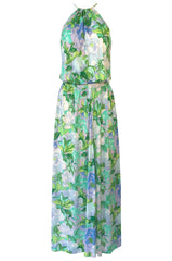 1970s Ken Scott Green Floral & Leaf Print Jersey Halter Dress