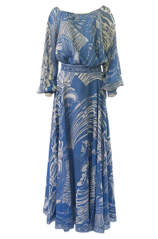1960s Emilo Pucci Pretty Blue Silk Print Chiffon Top and Skirt Maxi Dress