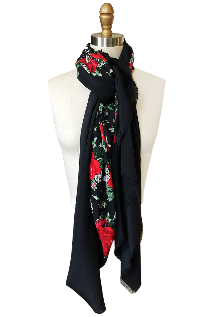 Huge 1970s Yves Saint Laurent Silk Red Rose Print Black Scarf