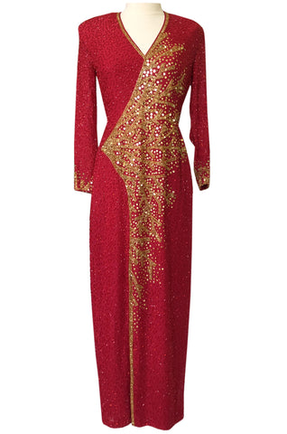 1980s Lillie Rubin Naeem Khan Read Beaded Back & Front Plunge Dress