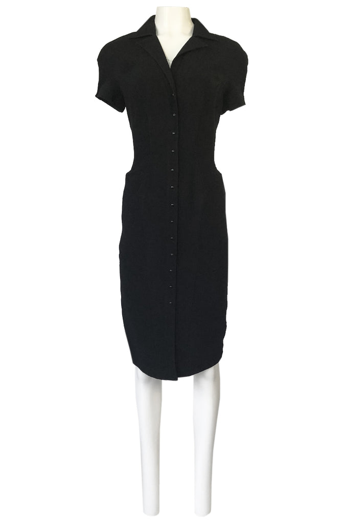 1980s Thierry Mugler Back Open Cut Work Lace Black Fitted Dress