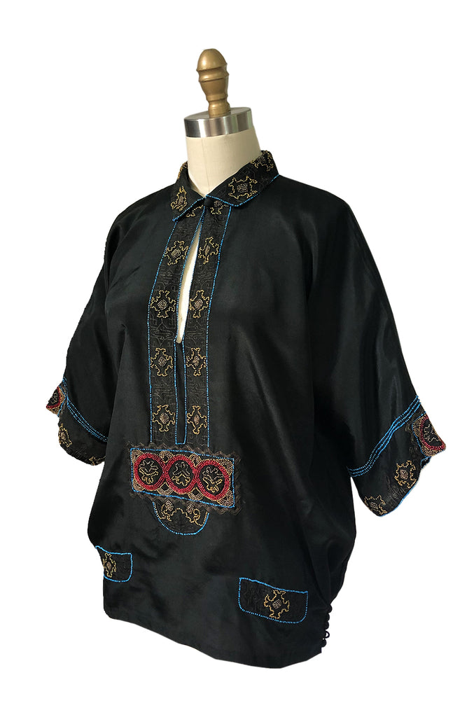 1920s Unlabeled French Couture Bead & Metallic Thread Black Silk Tunic
