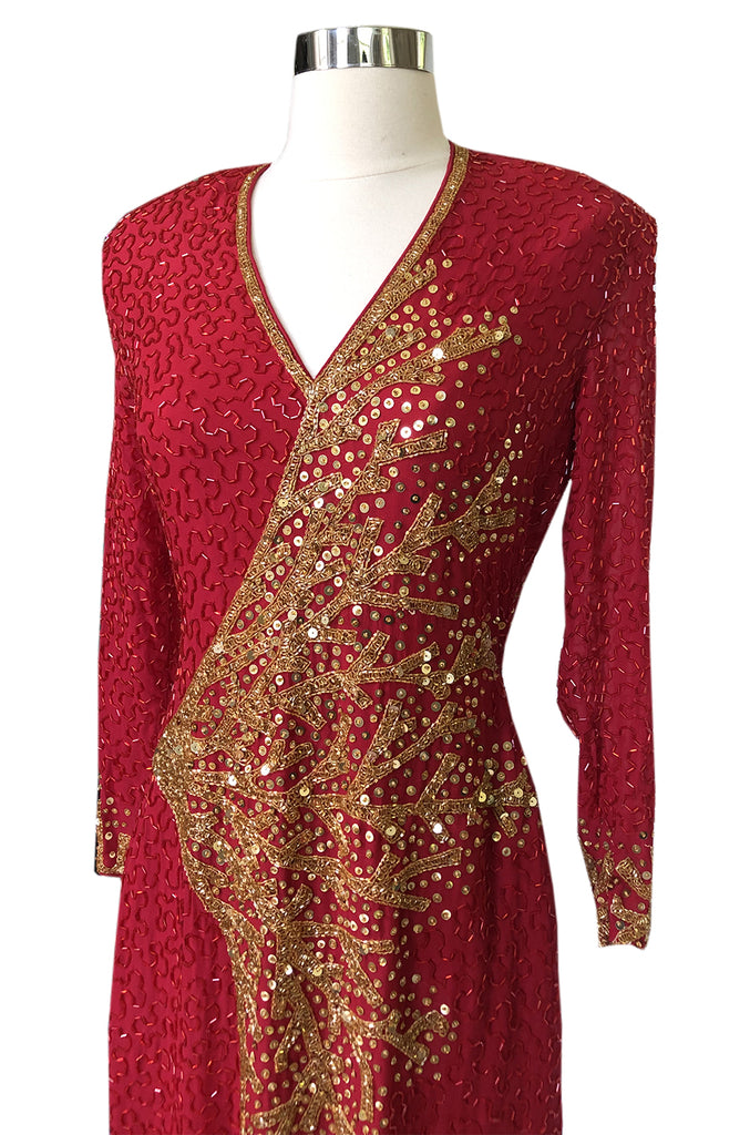 1980s Lillie Rubin Naeem Khan Red Beaded Back & Front Plunge Dress