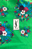 Huge 1970s Yves Saint Laurent Green & Pink Floral Cotton and Silk Scarf