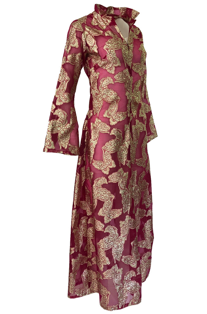 1970s Unlabeled Gold Lame Thread Butterfly Caftan on Pink Organza